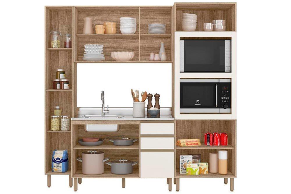 Cozinha Completa Nicioli Kali 9634 4 Peças (2 Paneleiro + 1 Aéreo + 1 Balcão)