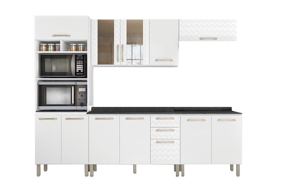 Cozinha Completa Nicioli Loá 9635 5 Peças (Paneleiro + 2 Aéreos + 2 Balcões)
