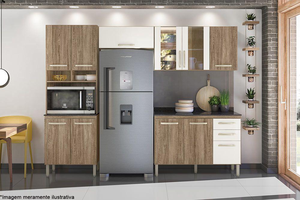 Cozinha Completa Nicioli Loá 9640 4 Peças (Paneleiro + 2 Aéreos + 1 Balcão)