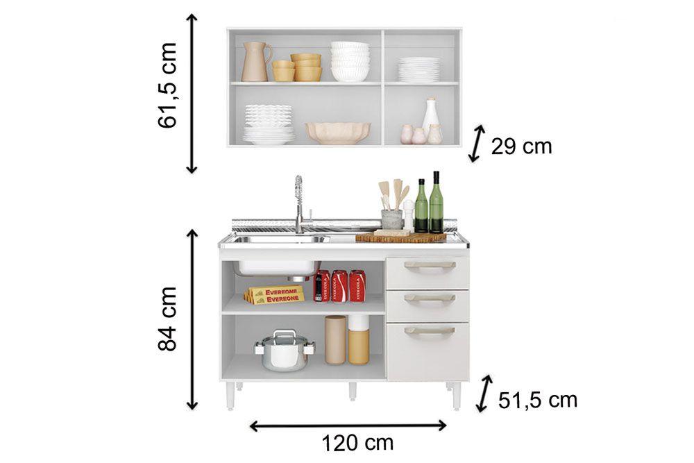 Cozinha Completa Nicioli Fit 2 Peças (Aéreo + Balcão)