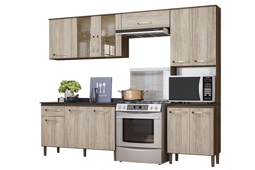 Cozinha Completa Nicioli Fit 4 Peças (Paneleiro + 2 Aéreos + 1 Balcão)