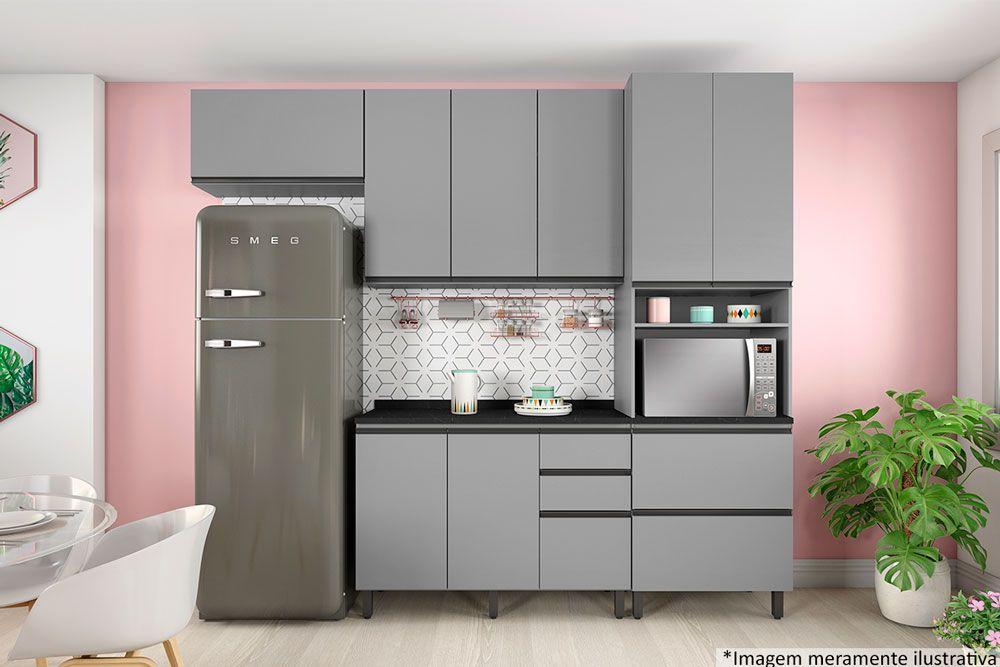 Cozinha Completa Compacta Henn Belize 5 Peças (1 Torre Quente + 2 Aéreos + 1 Balcão + 1 Tampo) CZ182