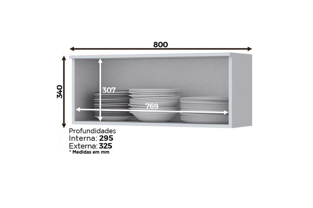 Cozinha Completa Compacta Henn Americana 5 Peças (Torre Quente+2 Aéreos+Balcão+Tampo) CZ201