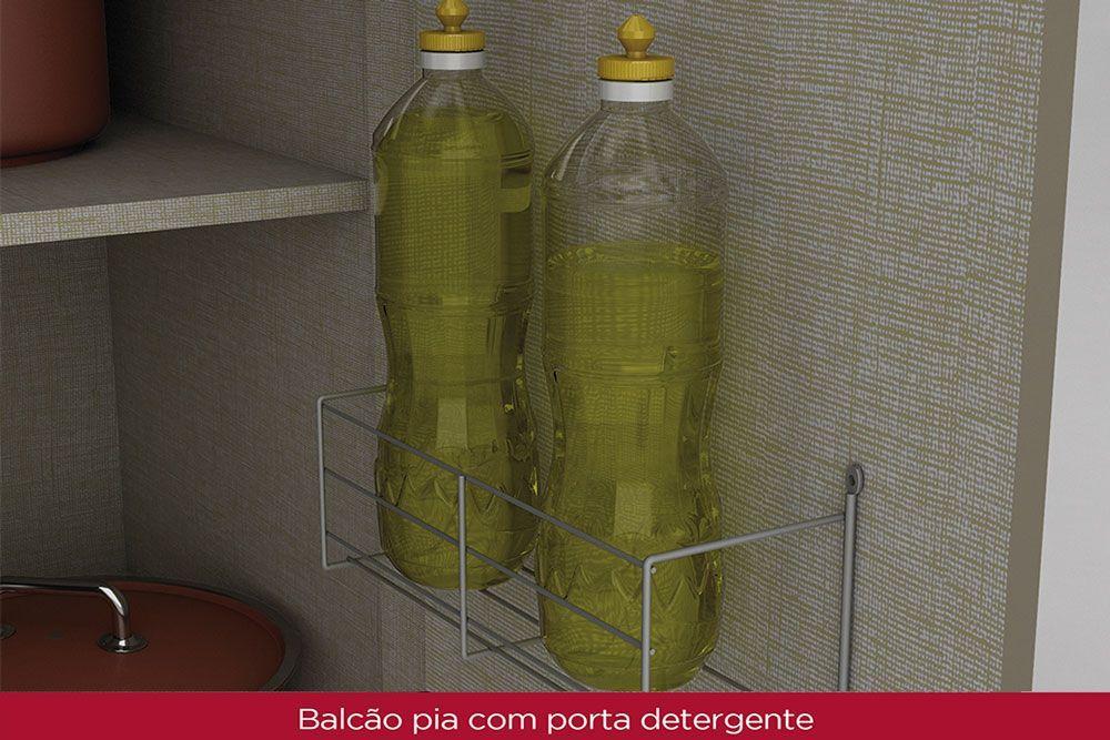 Cozinha Completa Compacta Henn Connect 6 Peças (2 Aéreos + 2 Balcões + 2 Tampo) CZ221