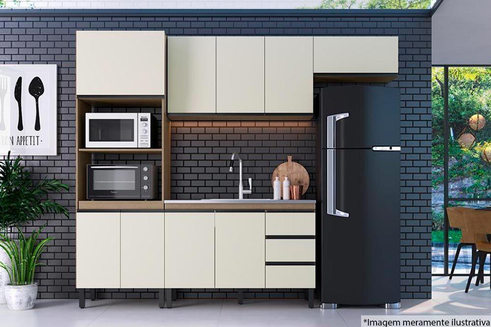 Cozinha Completa Genialflex Modulada Premium Analu 4 Peças (Paneleiro + 2 Aéreos + Gabinete)
