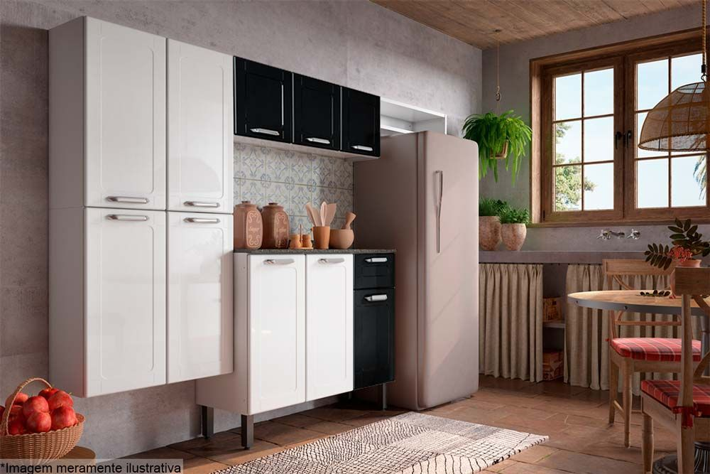 Cozinha Completa Modulada Bertolini Dona Maria 4 Peças (Paneleiro+Gabinete+Aéreo+Nicho)