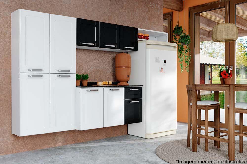 Cozinha Completa Modulada Bertolini Dona Maria 4 Peças (Paneleiro+Aéreo+Nicho+Gabinete s/ Pés)
