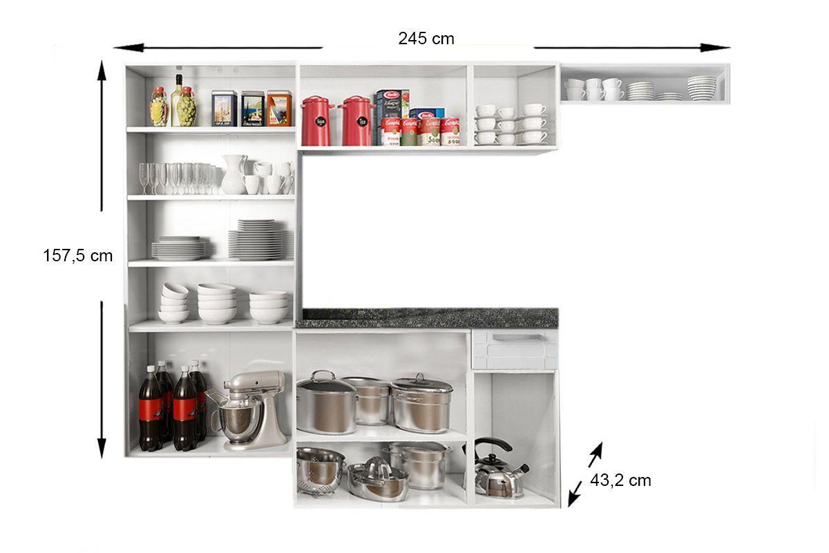 Cozinha Completa Modulada Bertolini Múltipla 4 Peças (Paneleiro+Armário+Gabinete+Nicho) CZ86