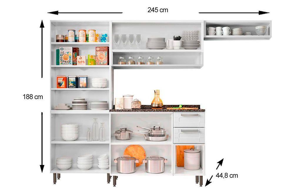 Cozinha Completa Compacta Bertolini Múltipla 4 Peças (Paneleiro+Gabinete+Armário+Nicho)