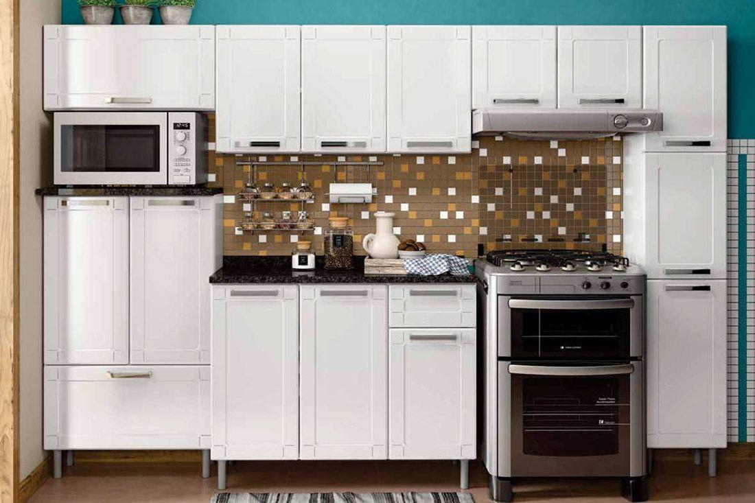 Cozinha Completa Modulada Bertolini Múltipla 6 Peças (Paneleiro+3 Aéreos+Gabinete+Balcão p/ Microondas)