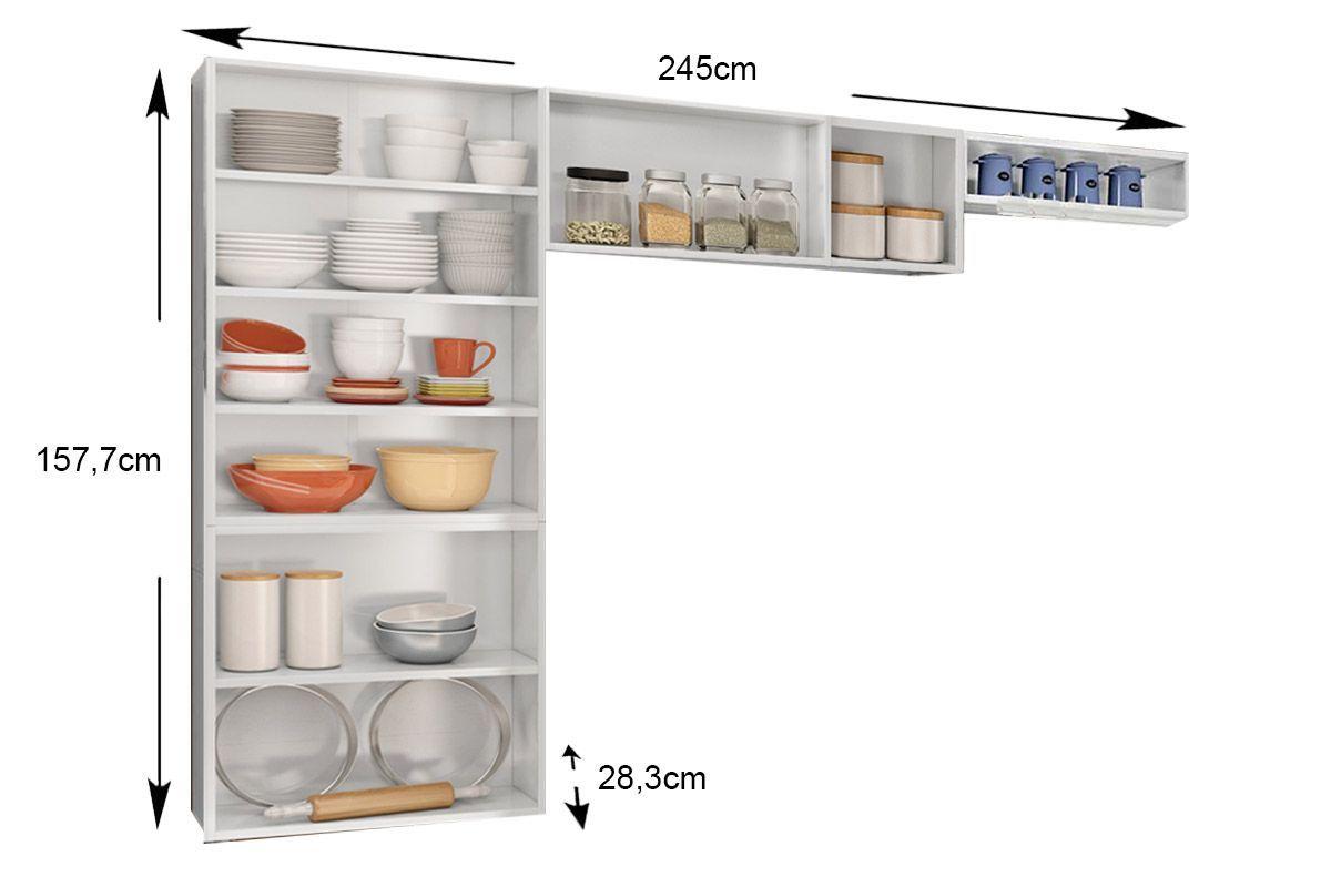 Cozinha Compacta Modulada Bertolini Múltipla 3 Peças (Paneleiro+Armário+Nicho)