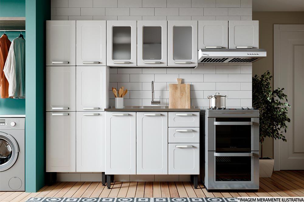 Cozinha Completa Modulada Bertolini Múltipla 4 Peças (Paneleiro+2 Aéreos+Gabinete c/ Pia)