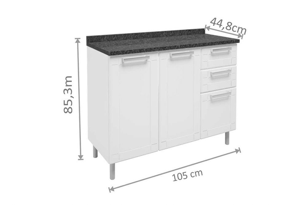 Cozinha Completa Modulada Bertolini Múltipla 4 Peças (Paneleiro+2 Armários+Gabinete c/ Tampo)