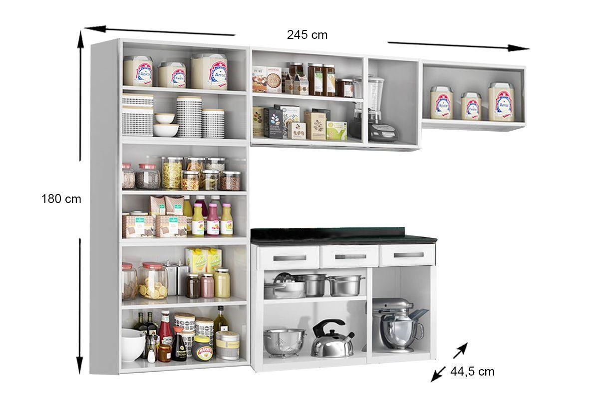 Cozinha Completa Compacta Telasul Rubi de Aço 4 Peças (Paneleiro + 2 Aéreos + Gabinete c/Tampo) COZ221