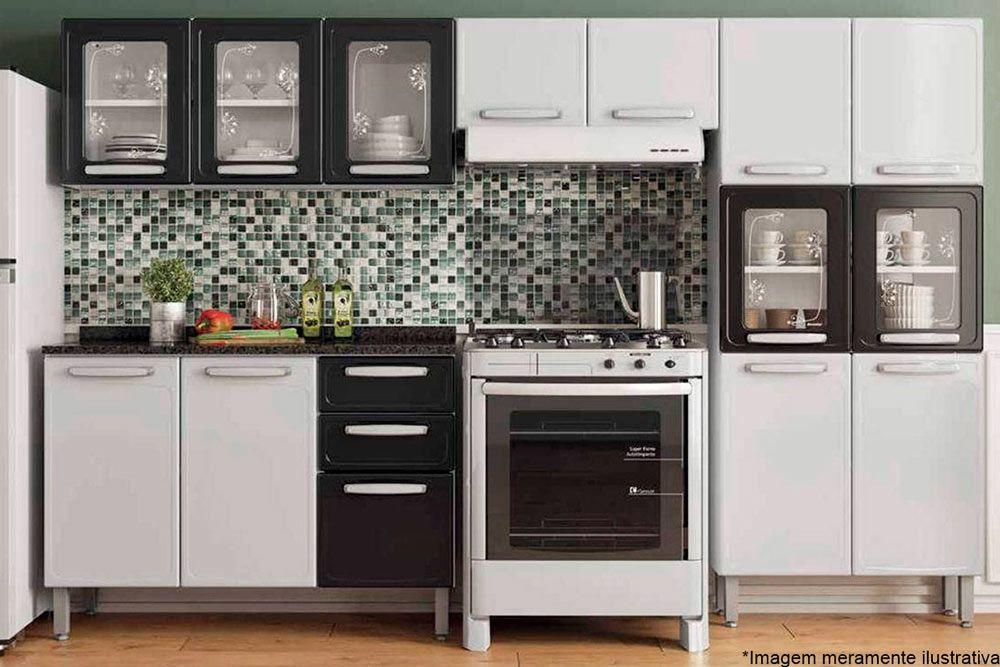 Cozinha Completa Modulada Bertolini Evidence 4 Peças (Paneleiro+2 Armários(1 c/ Vidro)+Gabinete)