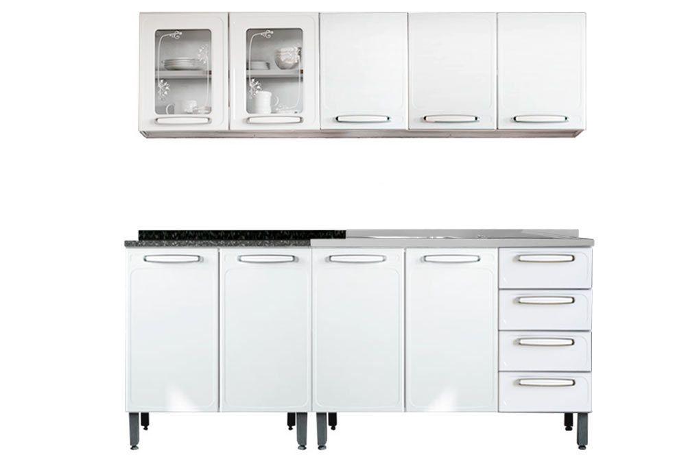 Cozinha Completa Modulada Bertolini Evidence 4 Peças (2 Armários+2 Gabinetes 1 c/Pia)