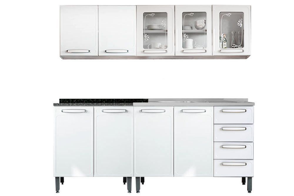 Cozinha Completa Compacta Bertolini Evidence 4 Peças (2 Armários+2 Gabinetes 1 c/Pia)