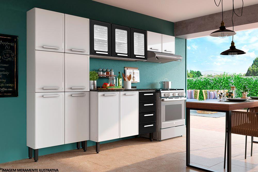 Cozinha Completa Modulada Bertolini Gourmet 4 Peças (Paneleiro+2 Armários+Gabinete)