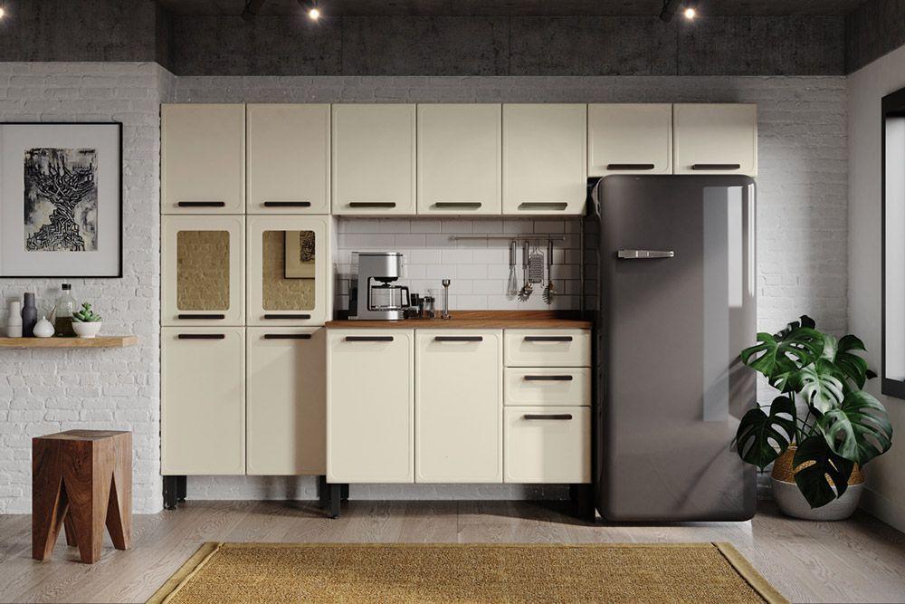 Cozinha Completa Compacta Bertolini Origens 4 Peças (Paneleiro+2 Armários+Gabinete)