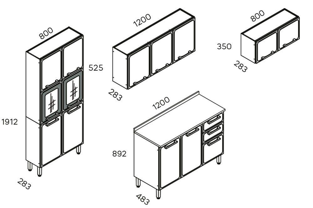 Cozinha Completa Modulado Bertolini Estilo 4 Peças (Paneleiro+2 Armários+Gabinete)