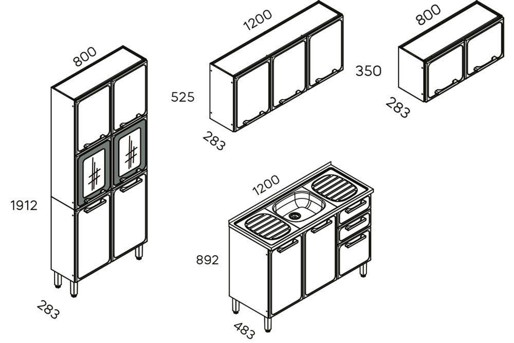 Cozinha Completa Modulada Bertolini Estilo 4 Peças (Paneleiro+2 Armários+Gabinete c/Pia)