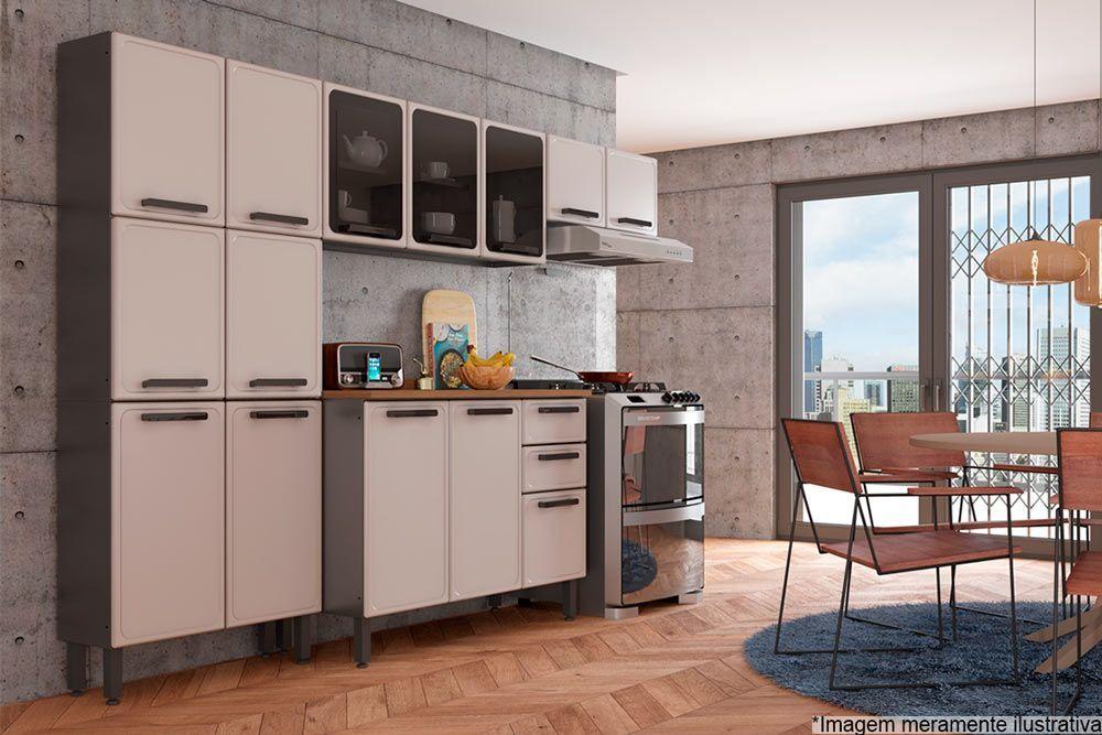Cozinha Completa Modulada Bertolini Estilo c/ Pia 4 Peças (Paneleiro+2 Armários+Gabinete)