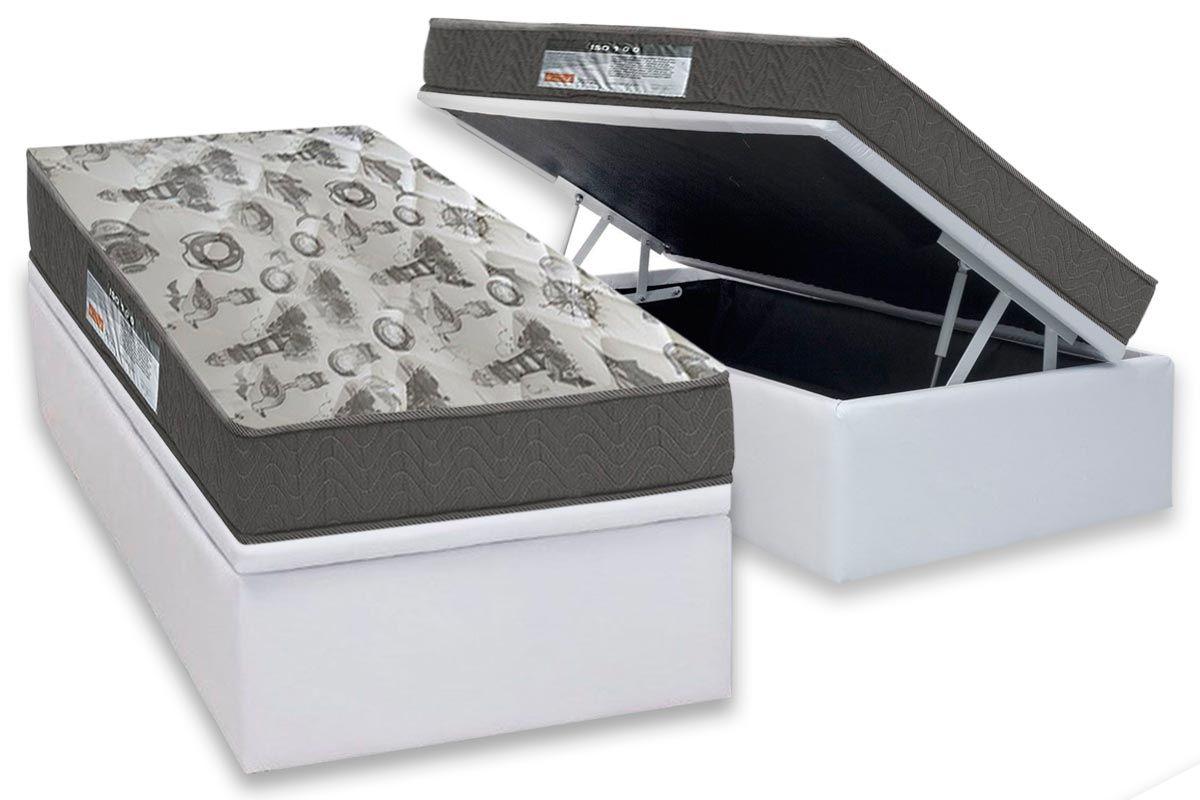 Conjunto Baú - Colchão Ortobom Espuma D33 ISO 100 Ultra Firme 18cm + Cama Box Baú Universal CRC Courino White