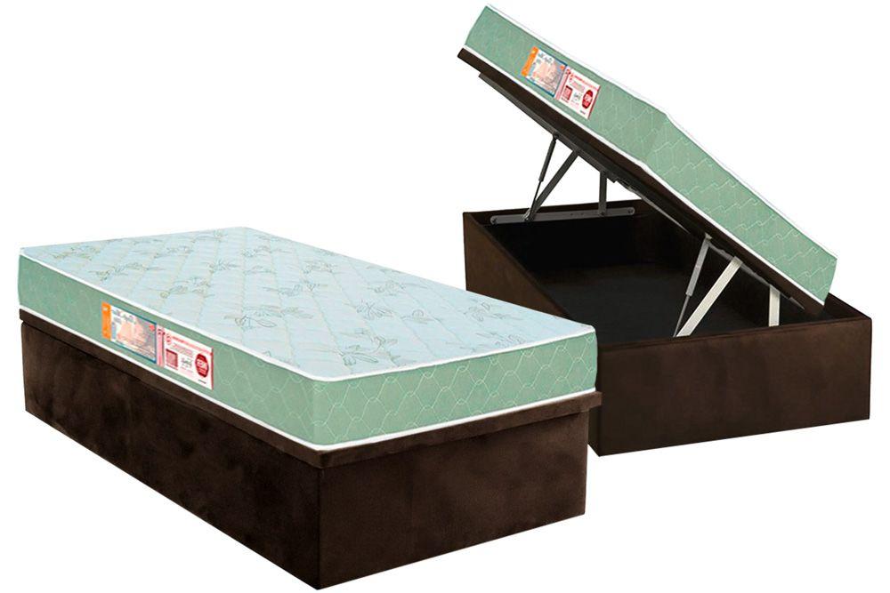 Conjunto Baú - Colchão Castor de Espuma D33 Sleep Max + Cama Box Baú Universal CRC Camurça Brown