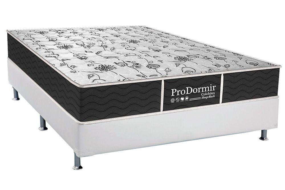 Conjunto Cama Box - Colchão Probel de Molas Bonnel ProDormir Sleep Black + Box Universal Courino Bianco