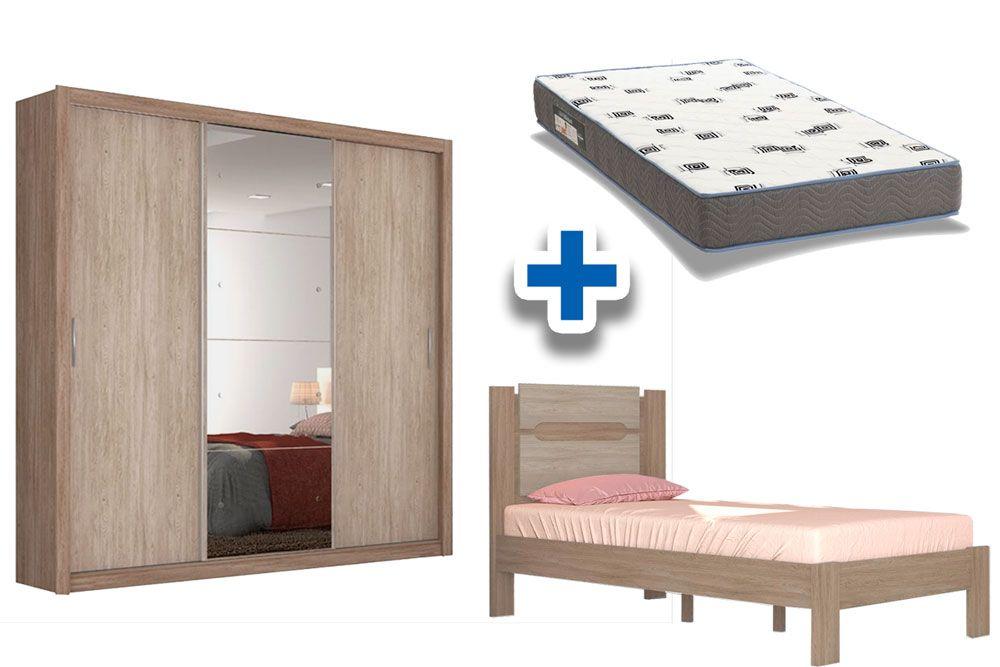 Quarto Solteiro Demóbile QS02 (Guarda Roupa Residence + Cama Solteiro Riviera + Colchão Ortobom D33)