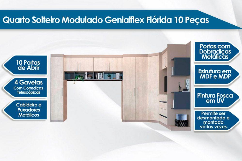 Quarto de Solteiro Modulado Genialflex Flórida c/ 10 Peças QMS01