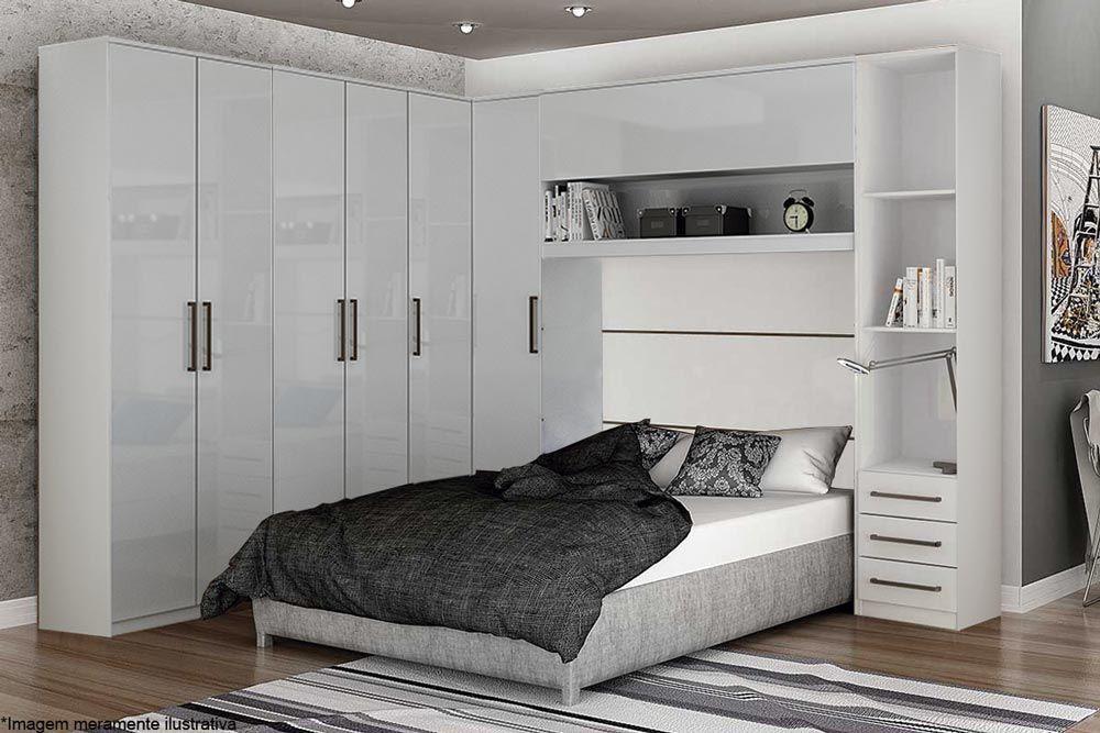 Dormitório Modulado Casal Completo Novo Horizonte Bari 5 Peças QCM06