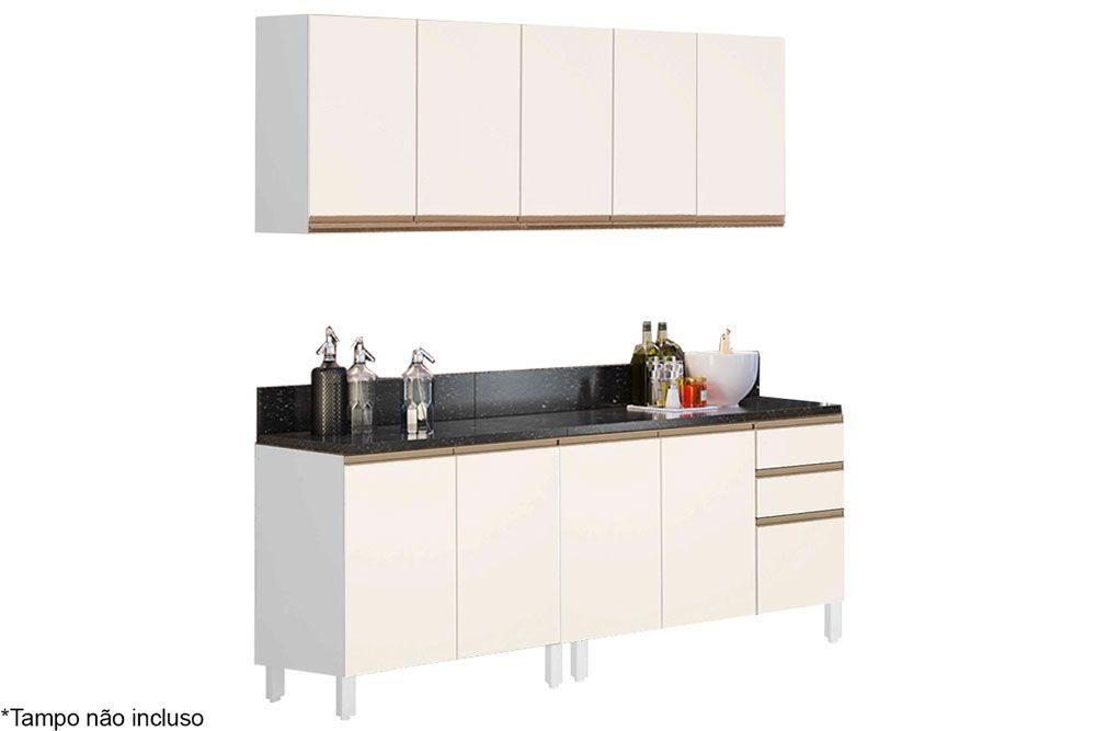 Cozinha Completa Nicioli Kali 4 Peças (2 Balcões s/ Tampo + 2 Aéreos)