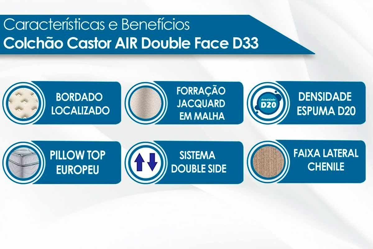 Conjunto 4 em 1 (Cama Box+Baú+Cama Auxiliar Courino Nero Black Ortobom)+(Colchão Castor D33 Black e White Air Double Face)