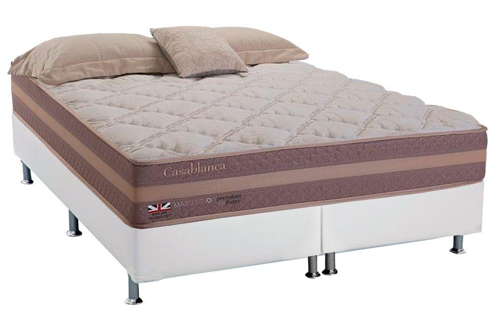 Conjunto Cama Box - Colchão Herval de Molas Maxspring Casablanca Pillow Top + Cama Box Courino Bianco
