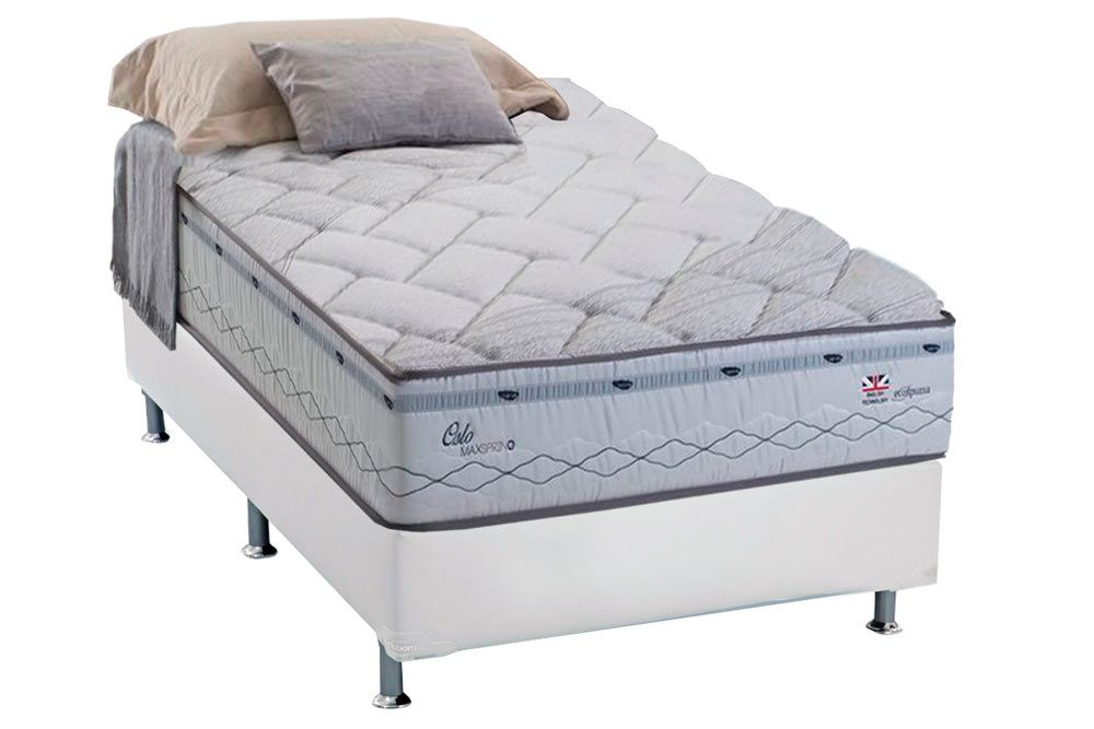 Conjunto Cama Box - Colchão Herval de Molas Maxspring Oslo Pillow Top + Cama Box Courino Bianco