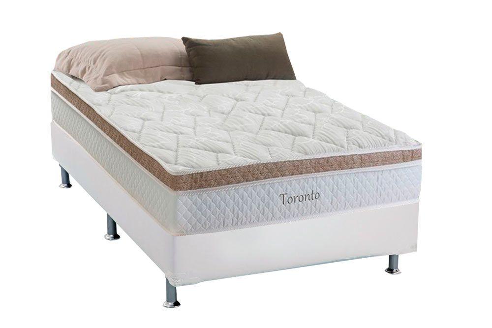 Conjunto Cama Box - Colchão Herval de Molas Pocket Toronto Euro Pillow + Cama Box Courino Bianco