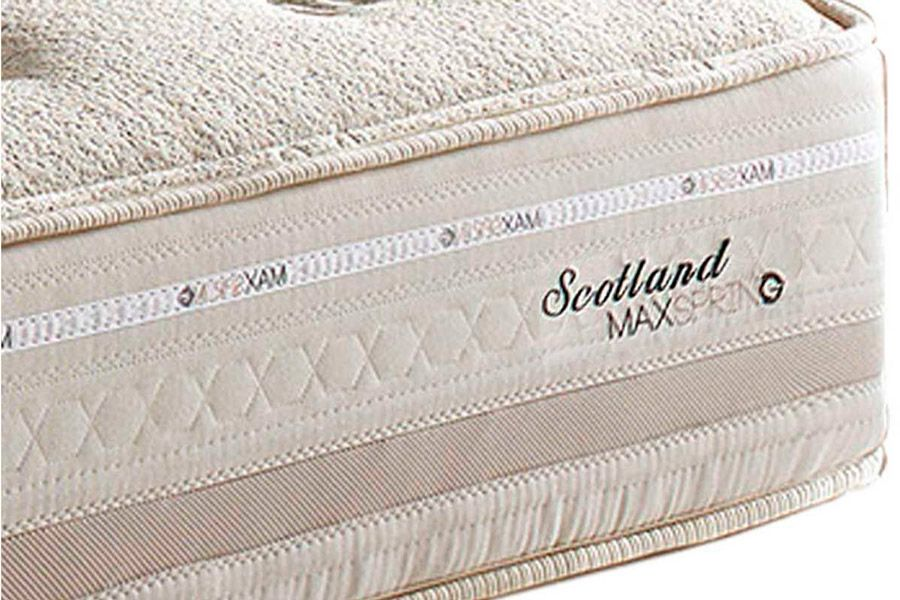 Conjunto 4 em 1 (Cama Box + Baú + Cama Auxiliar Courino Bianco) + (Colchão Herval de Molas Maxspring Scotland Pillow Top)