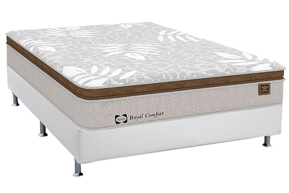 Conjunto Cama Box - Colchão Sealy de Molas Posturepedic Royal Comfort Plus + Cama Box Courino Bianco