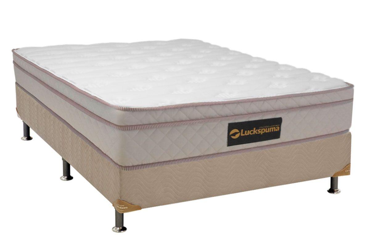 Conjunto Cama Box - Colchão Luckspuma de Molas Ensacadas Hard Spring Euro Pillow + Cama Box Nobuck Bege Crema