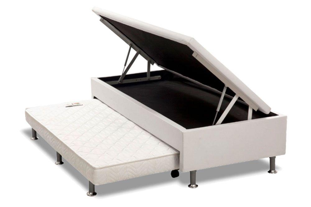 Conjunto 4 x1 - Cama Box + Baú + Auxiliar + Colchão Paropas Molas Pocket Eco Linho