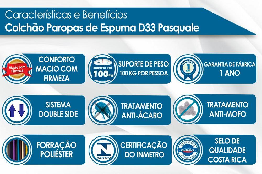 Conjunto Baú - Colchão Paropas Espuma D33 Pasquale Clean + Cama Box Baú Universal CRC Camurça Clean