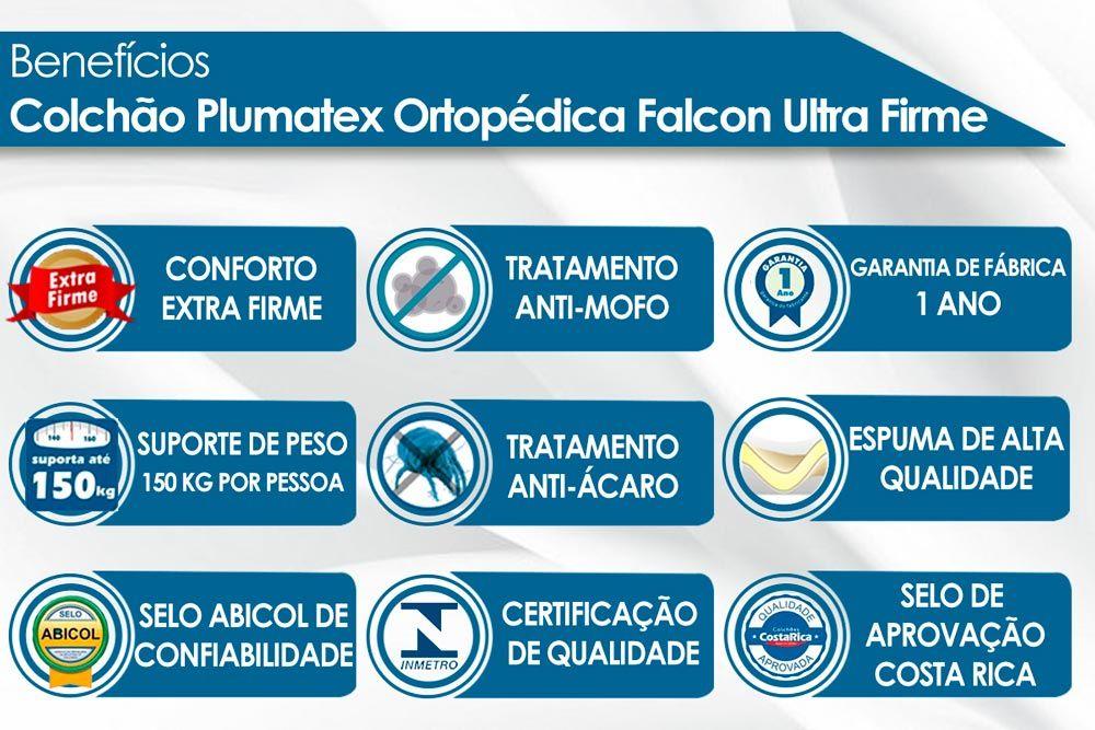 Conjunto Cama Baú-Colchão Plumatex Ortopédico Falcon Ultra Firme+Cama Box Baú Universal CRC Camurça Black