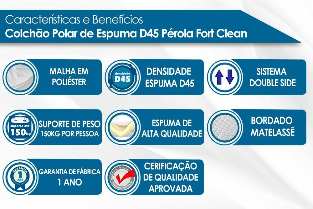 Conjunto Baú - Colchão Polar de Espuma D45 Pérola Clean + Cama Box Baú Universal CRC Camurça Clean