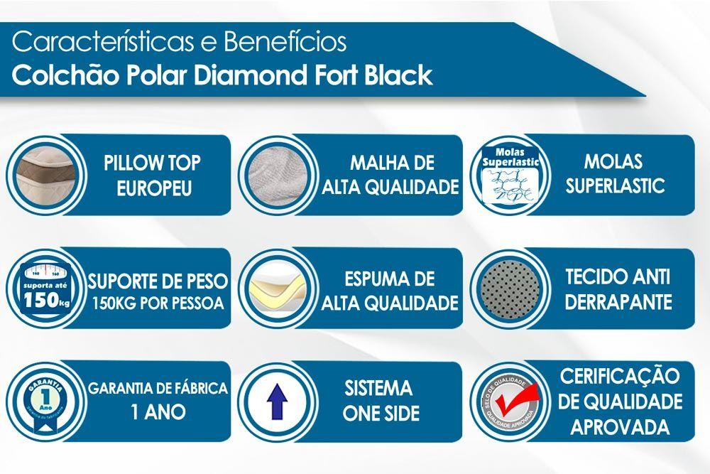 Conjunto Baú - Colchão Polar Molas Superlastic Diamond Black + Cama Box Baú Universal CRC Camurça Black