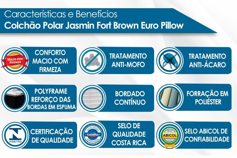 Conjunto - Cama Box Baú + Colchão Polar Molas Pocket Jasmim Brown