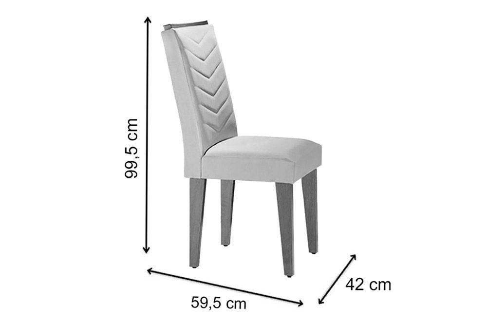 Sala de Jantar Rufato Mesa Londrina Tampo MDF c/ Vidro 180cm + 6 Cadeiras Londrina