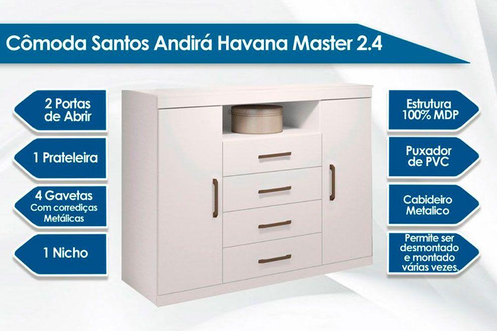 Quarto Casal Santos Andirá QC89 (Guarda Roupa Imaginare + Cômoda Havana Master)