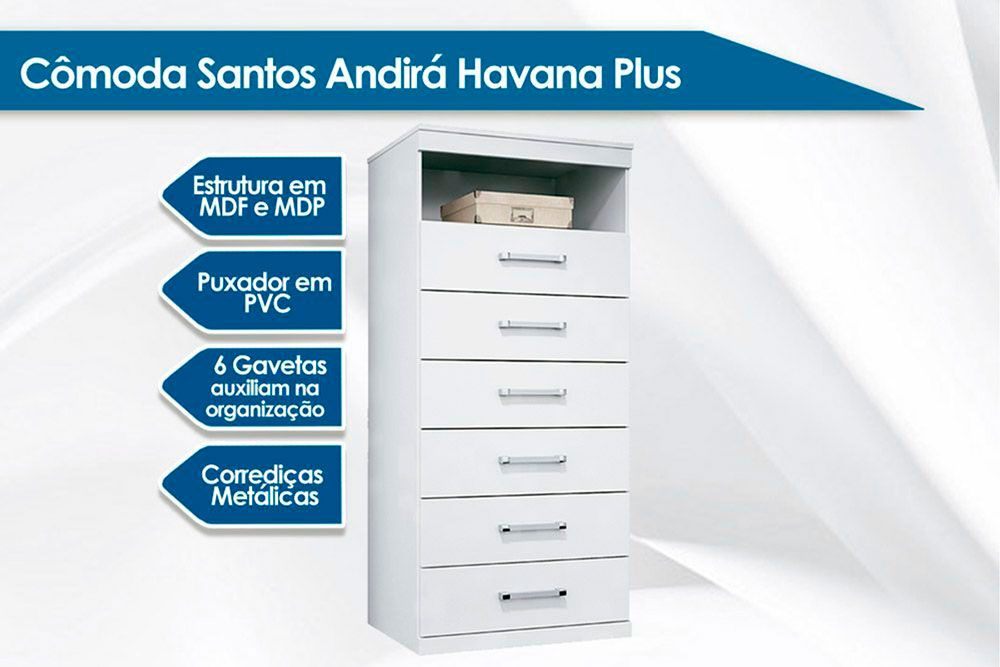 Quarto Solteiro Santos Andirá Havana QC87 (Guarda Roupa 4 Portas + Cômoda)