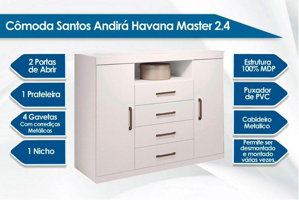 Quarto Casal Santos Andirá Havana Master QC86 (Guarda Roupa 8 Portas + Cômoda)